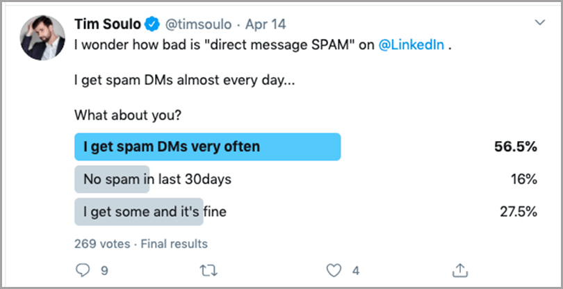 Tim Soulo's creative polls on Twitter for content plateau