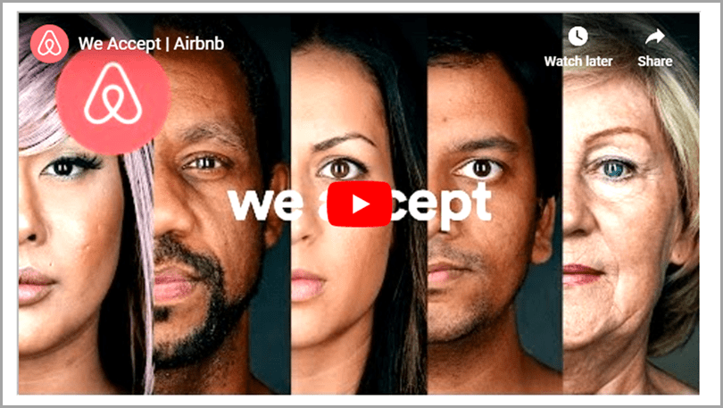 "Airbnb's ""We Accept"" videobrand positioning on social issue"