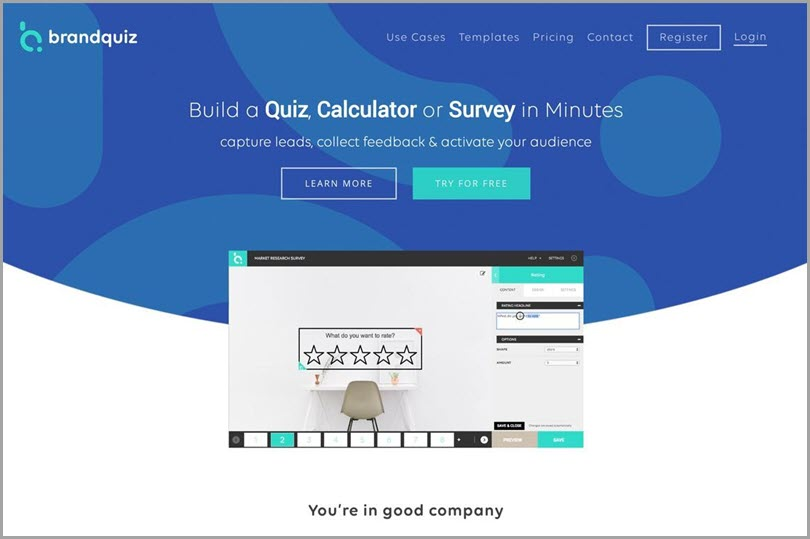 BrandQuiz online lead quiz software to easily collect feedback