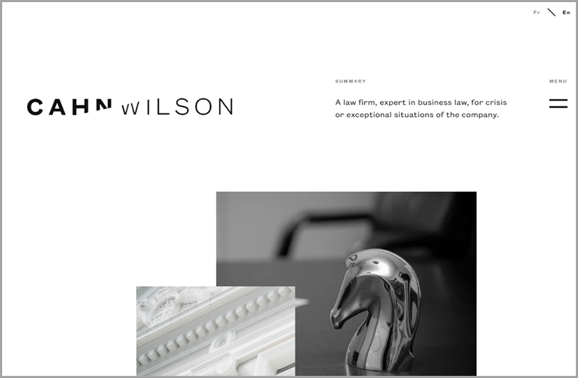 Cahn Wilson's website codern crisp clean blackand white web design ideas
