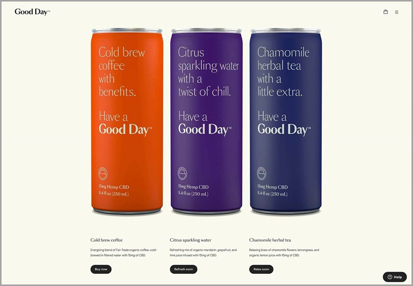 Good day's site displays it's products with minimalist design web design ideas