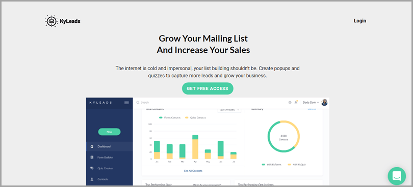 Grow your mailing list and increase your sales using KyLeads online lead quiz software