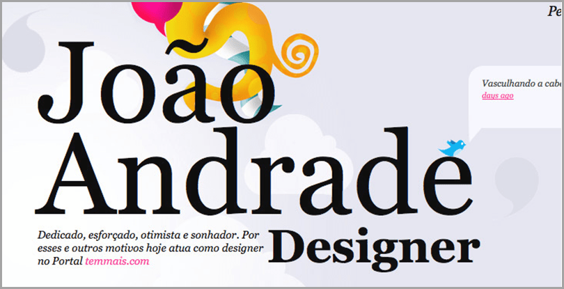 Joano Andrade's site captivating aesthetics with massive font sizes web design ideas