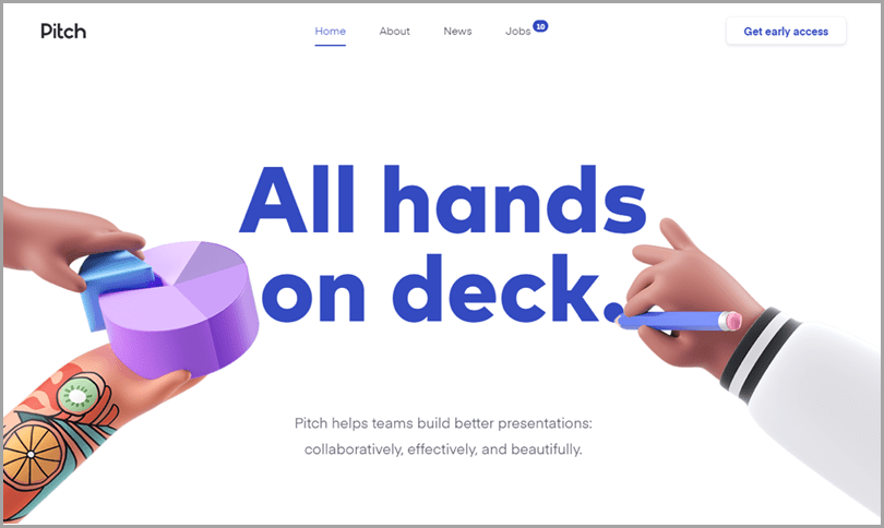 Pitch's website 3D illustration-based web design ideas