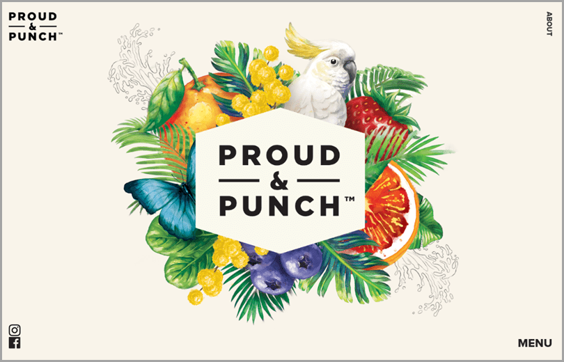Proud & Peach's site with floral watercolour style illustrations web design ideas