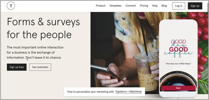 Typeform online lead quiz software forms & surveys for the people