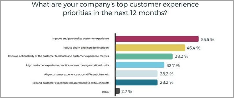 Company's Top Customer Experience Priorities In The Next 12 Months