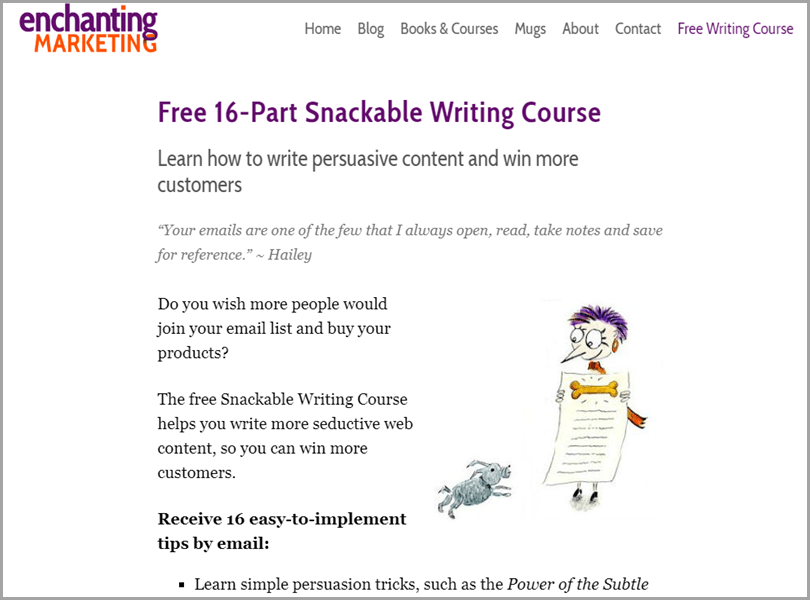 Enchanting Marketing Free 16-Part Snackable Writing Course to Make More Money