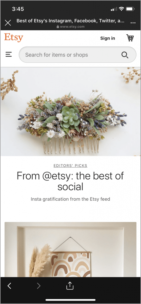 Etsy business website product page