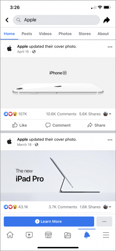 Facebook search result from the keyword Apple