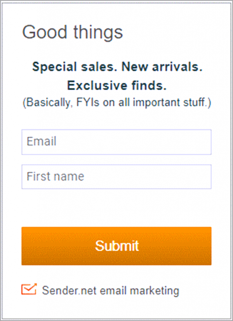 Good Example Of Subscriber Sign-up Form