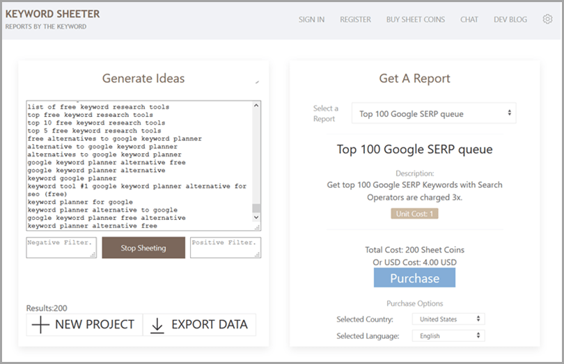 Keyword Sheeter Free Keyword Research Tools