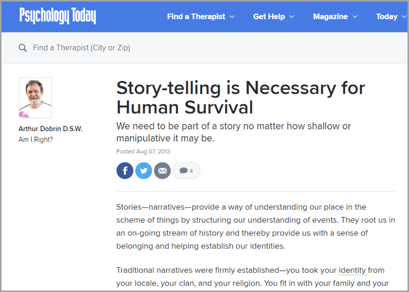 Psychology Today Story-telling is Necessary fro Human Survival