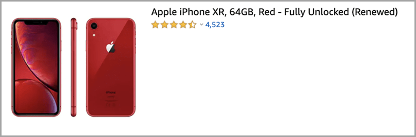 iPhone XR in Amazon - Rating System Upselling Tactics