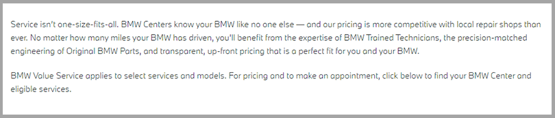 BMW Value Service Learn More Button Persuasive Copywriting