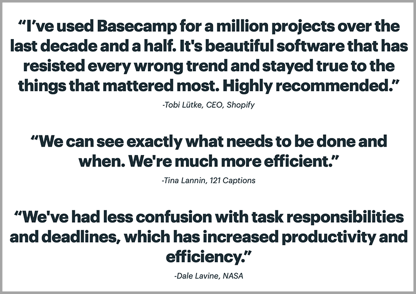 Basecamp's Testimonial to Establish Social Proof Persuasive Copywriting