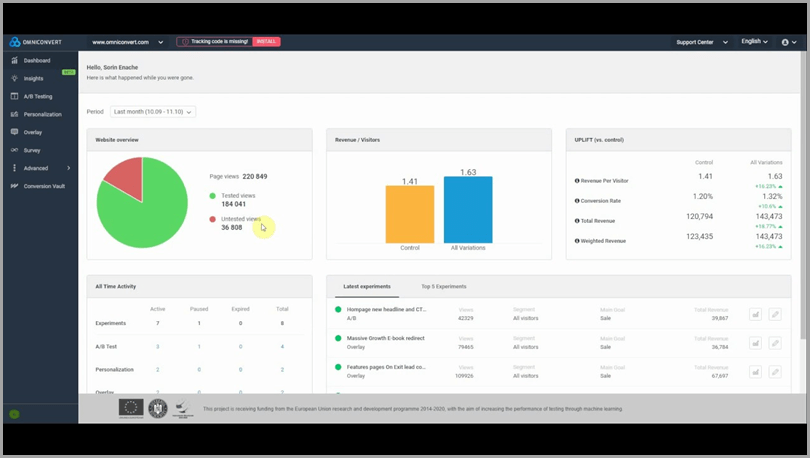content-personalization-tool-omniconvert-dashboard