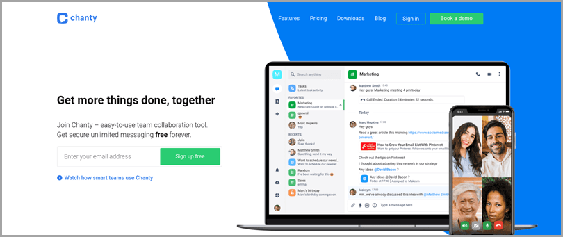 collaboration-tools-chanty-homepage