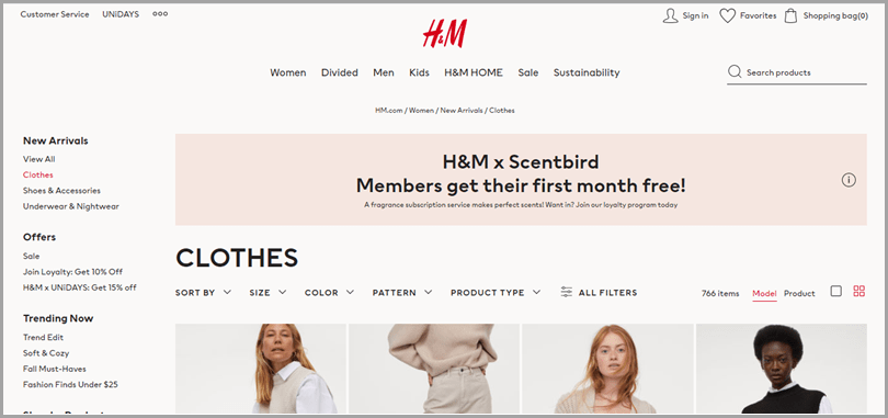 ecommerce-category-page-h&m-homepage-vertical-navigation-clothes