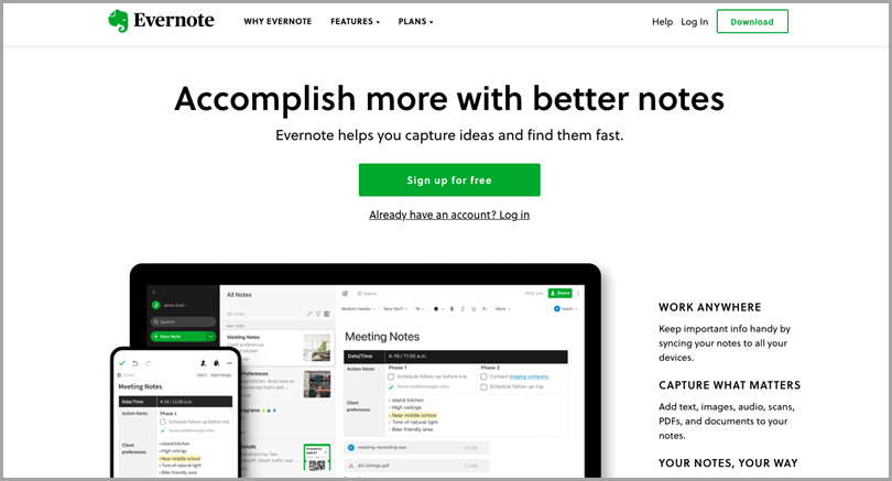 business-productivity-tools-evernote-homepage