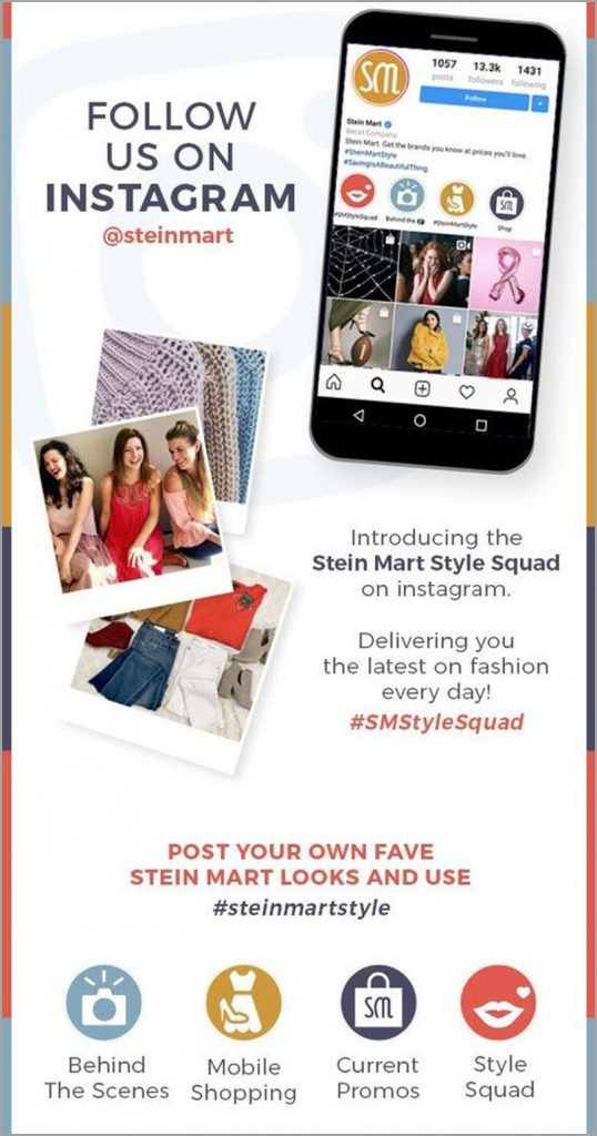 email-newsletter-ideas-stein-mart-follow-us-on-instagram